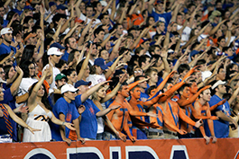 The crowd at a UF Gator football game