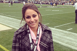 Former Student getting to experience the sideline at an NFL game
